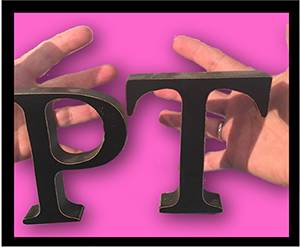 Hands holding the letters P and T.